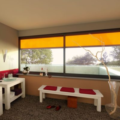 Orangene Fenster Markise